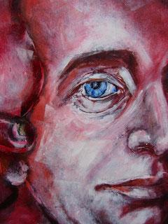 """Ausschnitt aus dem Gemälde: """"meine sprache versteht man durch die ganze welt"""" aus dem Zyklus """"...ziemlich HAYDNisch..."""""""