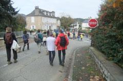 Le cortège pastoral croise la route de Lasseube à Monein en se dirigeant vers Artiguelouve.