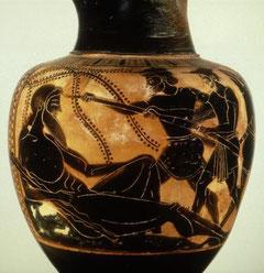 Ulysse aveuglant le Cyclope - Oenochoé attique à figures noires (v.500 avant JC) - Louvre