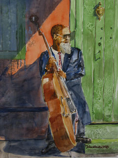 Bass Player. w/c, 14x11