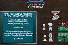 Oliva Nova Golf, Öffnungszeiten Driving Range, Coste de Valencia. Spanien