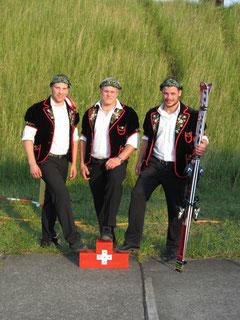 Die drei Kranzer: Odermatt Sepp, Scheuber Lutz und Zimmermann Martin