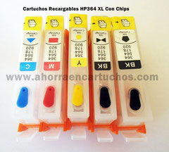 Cartuchos HP364XL x 5 CON CHIPS
