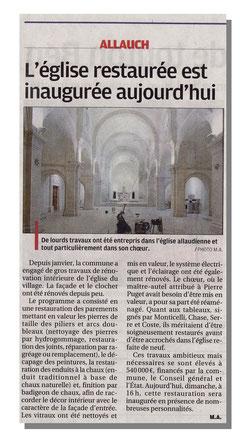 La Provence - Rénovation de l'église St Sébastien d'Allauch.
