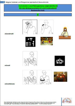 Religiöse Gebärden von A Seite 1