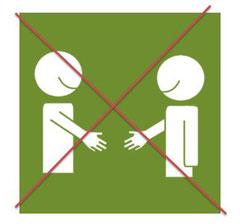 Nicht Hände schütteln.