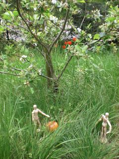 Adan und Eva mit Apfel uneterm Apfelbaum