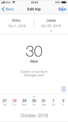 edit trip schengen 90 app