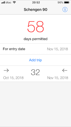 schengen 90 app calculates remaining days