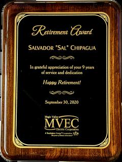 Retirement Award Plaque - Piano Finish Solid Walnut