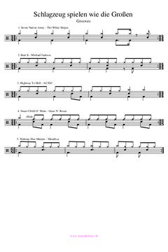 Schlagzeug spielen bekannte Lieder