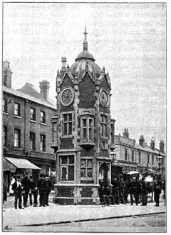 Aston Cross clock from R K Dent 1894 'The Making of Birmingham', a work now in the public domain