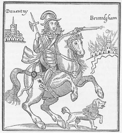 Prince Rupert, the King's nephew and a Royalist general. Illustration from a pamphlet entitled 'The Cruel Practices of Prince Rupert' 1643.