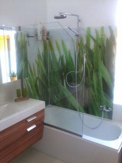 Spritzschutzwand, Fotodruck Rückwand, Badewannen Verglasung