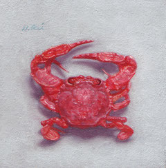 「SEA CRAB,38mm,60 meters deep,Masbate,Philippines」ミニアチュール(70×70mm)油彩
