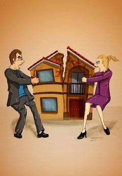 Zeichnung Streitende Eheleute, Scheidung