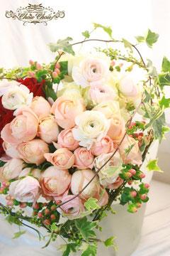 ガーデン風ハートの花束
