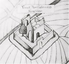 """St. Batholomäus im Jahre 1580 hier bezeichnet als """"Sanct Bartholomeus Kirchlein"""""""
