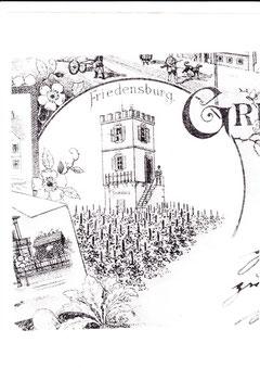 Vergrößerung des Wengertsturms auf einer alten Oberndorf-Grußkarte - dort Friedensburg genannt