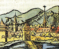 Ansicht Schweinfurt's vor dem Stadtverderben; es wird vermutet, dass der Turm zwischen den beiden Stadttürmen zum Rathaus gehörte, das völlig zerstört wurde