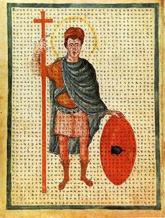 "Eine Darstellung Ludwigs des Frommen aus dem Buch ""De laudibus sanctae crucis"""