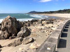 道路脇から眺める太平洋ロングビーチ