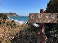 恋路ヶ浜の端から伊良湖ビューホテルを振り返る
