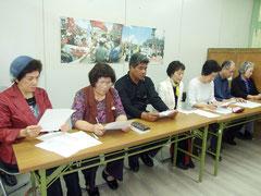 抗議声明を発表した平和憲法を守る八重山連絡協議会=2日午後、八重山地区労働組合協議会事務所