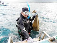 中山市長は約30匹のオニヒトデを駆除した=5日、米原アウトリーフ