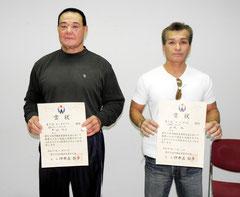 ※日本新、タイの記録で優勝した下地邦男選手(左)、山城旭選手