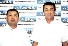 浦添商の甲子園出場を報告した石垣市出身の宮良監督(右)、真玉橋コーチ