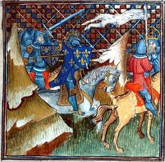 Philippe Auguste poursuivant l'empereur Otton Grandes Chroniques de France, Ms 863, Bibl. d'Alençon
