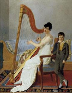 Portrait de femme jouant de la harpe (1805) par Joseph-Denis Odevaere.
