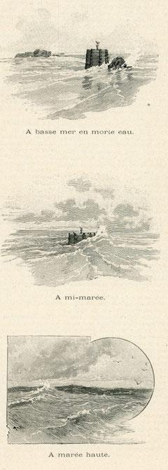 La tourelle de la Horaine aux différentes heures de la marée (l'Illustration coll perso)