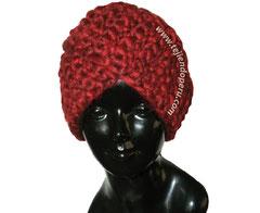 Gorro tipo turbante tejido en ganchillo tunecino