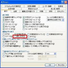 2003隠し文字の表示