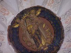 Clé de voûte avec la vièrge de la victoire / couvent des Minimes à Perpignan