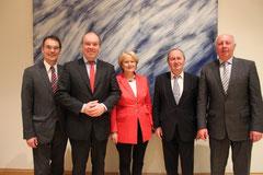 Ingbert Liebing mit dem neu gewählten Vorstand des AK Küste: v.l.n.r.: Dr. Philipp Murmann, Elisabeth Motschmann, Hans-Werner Kammer und Eckhard Rehberg