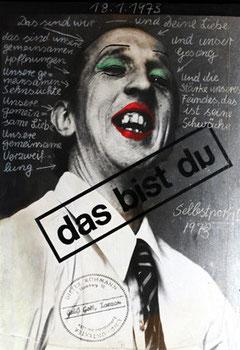 © Dieter Rühmann, Finale, 1973, Fotoleinwand bemalt, mit Kreide beschriftet