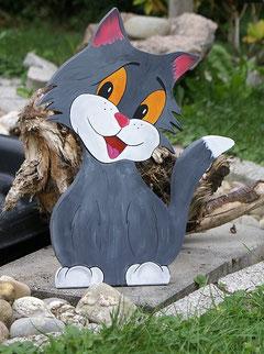 Deko Katze Holz bemalt