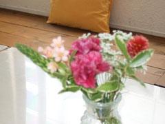 事務局上野さんの気づかい。かわいいお花も。