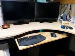 カバ桜集成材のPCデスクのキーボードスライダーの板