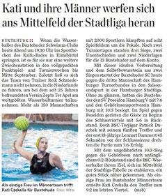 Wasserball: Kati und ihre Männer werfen sich ans Mittelfeld der Stadtliga heran. Hamburger Abendblatt/Harburg&Umland vom 21.08.2013
