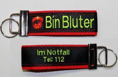 Schlüsselanhänger Bin Bluter/ Notfall 112,