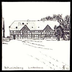straßenabgewandte Seite - Tuschezeichnung Horst Hankammer