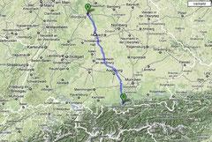 Anreise von Würzburg nach Ohlstadt
