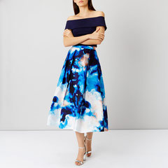 printed skirt and navy top from Coast