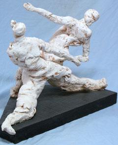 """""""Incomunicabilità cieca"""" scultura in terracotta ingobbiata di G.DESERRI"""