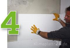 Klimaplatte verarbeiten - Klimaplatte auf der Wand anbringen, ankleben