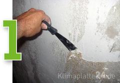 Klimaplatten verarbeiten - Tapeten und betroffenen Putz entfernen